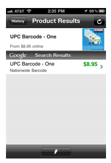 Find your product by UPC barcode